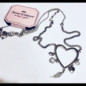 Juicy Couture Silver Necklace Heart Rhinestones